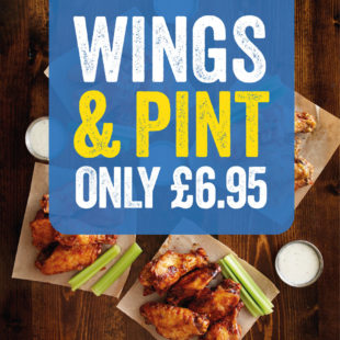 Wings + Pint ONLY £6.95