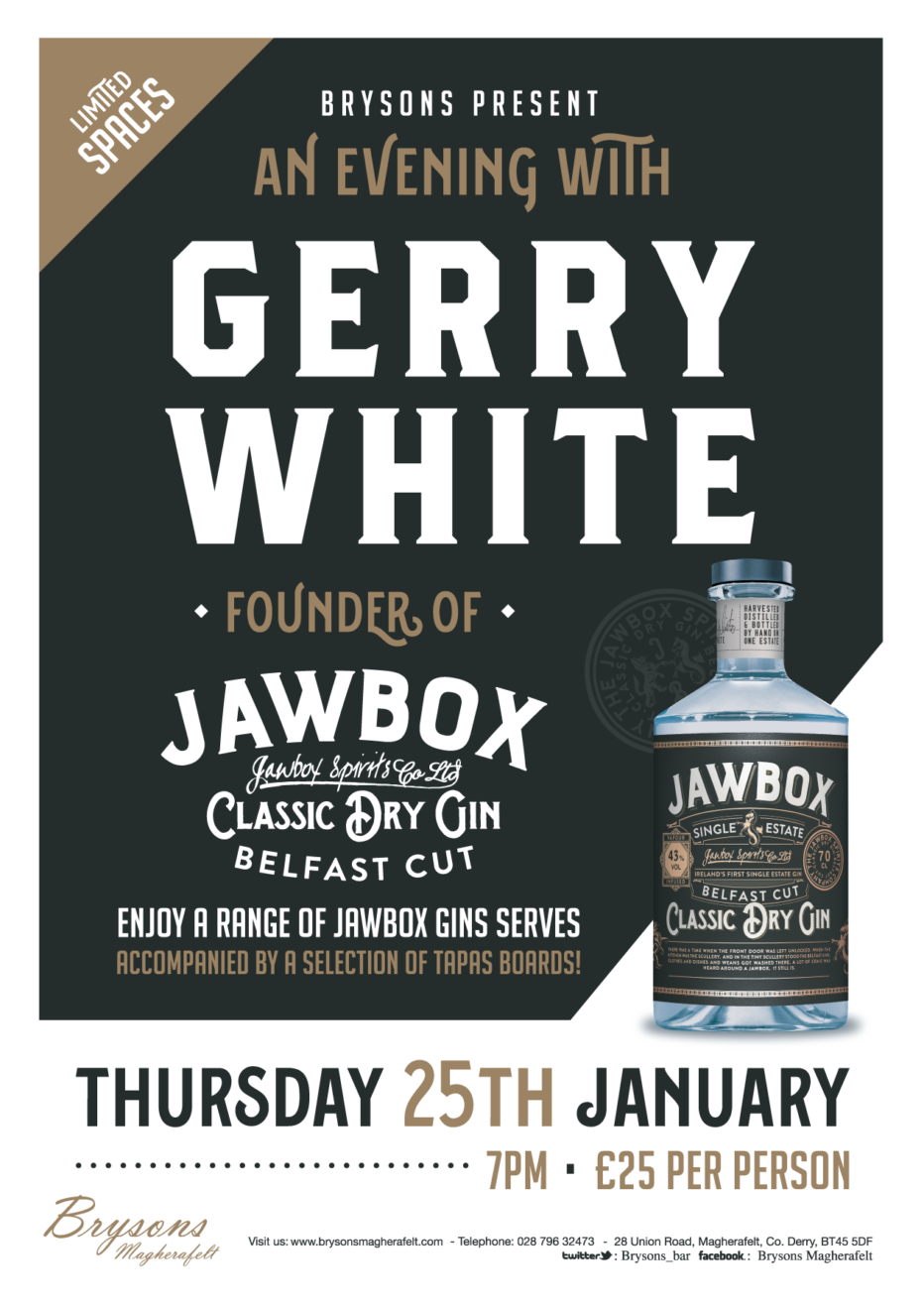 An evening W/ Gerry White – Founder of Jawbox gin