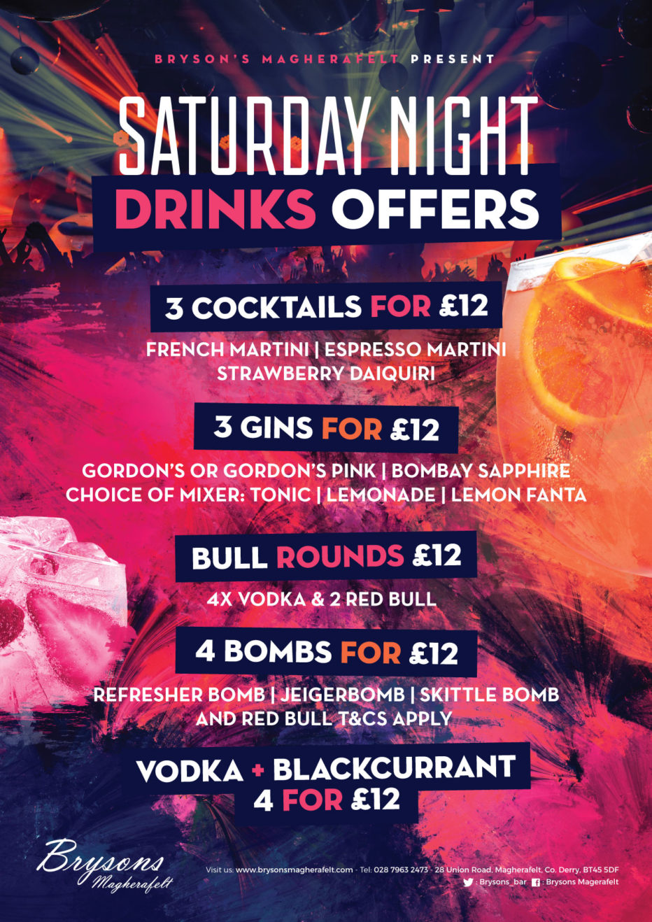 NEW Saturday night drinks offers