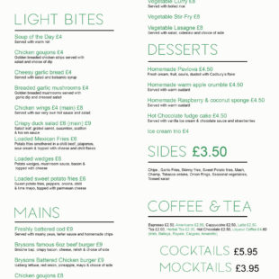Check out our NEW lunch/evening menus