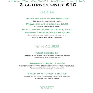 Sunday lunch 2 course offer